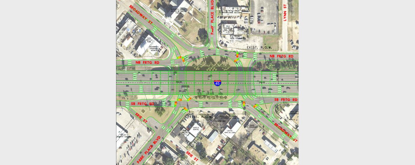 TxDOT Houston IH 45 at Broadway Schematic Design