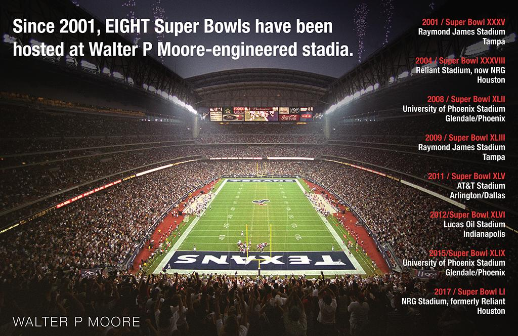 8 Super Bowls Hosted in Walter P Moore Stadia